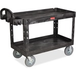 Rubbermaid Large Utility Cart with Lipped Shelf RCP454600BK