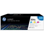 HP 304A (CF340A) 3-pack Cyan/Magenta/Yellow Original LaserJet Toner Cartridges HEWCF340A