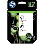 HP 61 2-pack Tri-color Original Ink Cartridges HEWCZ074FN