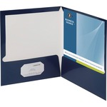 Business Source Two-Pocket Folders with Business Card Holder BSN44430