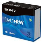 Sony DVD Rewritable Media - DVD+RW - 4x - 4.70 GB - 10 Pack Slim Jewel Case SON10DPW47SS