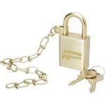 SKILCRAFT SKILCRAFT Solid Brass Case Padlock w/Chain NSN5881819