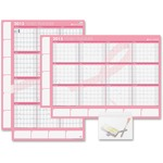 Day-Timer Pink Ribbon Yearly Erasable Wall Calendar DTM17244