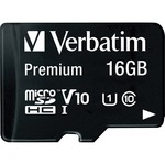 Verbatim 16GB Premium MicroSDHC Memory Card with Adapter, Class 10 VER44082