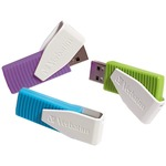 Verbatim 8GB Swivel USB Flash Drive - 3pk - Blue, Green, Violet VER98426