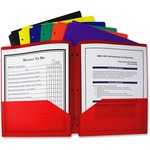 C-Line Products Two-Pocket Heavyweight Poly Portfolio Folder with Three-Hole Punch, Assorted Primary Colors, 1 Folder (Color May Vary) CLI33930