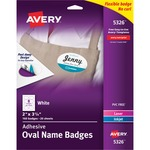 "Avery White Adhesive Name Badges 5326, Oval, 2"" x 3-1/3"", Pack of 160 AVE5326"