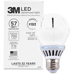 3M Commercial LED Advanced Light A19 RCA19B4, Cool White 4000K, 800 Lumens Dimmable MMMRCA19B4