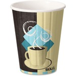 Duo Shield Paper Hot Cups/Lids Combo, 12oz, Tuscan Cafe, 52/Pack, 6 Packs/Carton FSIC12J753CT