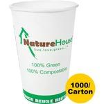 Compostable Live-Green Art Hot Cups, 8oz, White, 1000/Carton C008CT