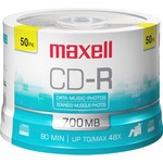 Maxell CD Recordable Media - CD-R - 48x - 700 MB - 50 Pack Spindle MAX648250