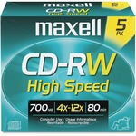 Maxell CD Rewritable Media - CD-RW - 4x - 700 MB - 5 Pack MAX630025