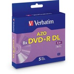 Verbatim DVD+R DL 8.5GB 8X with Branded Surface - 5pk Jewel Case Box VER95311