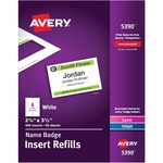 Avery Plain Insert Badge Refill AVE5390