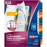 Avery Ready Index Translucent Table Of Content Dividers AVE11820