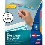 Avery Index Maker Easy Apply Clear Label Divider AVE12452