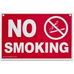 Economy No Smoking Wall Sign, Plastic, 12 x 8, Red AVT83639