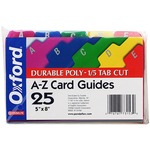 Esselte A-Z Durable 1/5 Cut Tab Poly Card Guides ESS73155