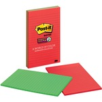 Post-it Super Sticky 5x8 Elect Glow Lined Notes MMM5845SSAN