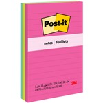Post-it Neon Fusion Collection Lined Notes MMM6603AN