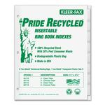 kleer-fax recyclable insertable ring book indexes - sku: klf11008 - toll-free customer care