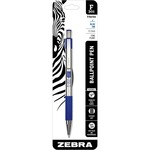 zebra stainless steel retractable. ballpoint pen w grip - sku: zeb27121 - professional customer support