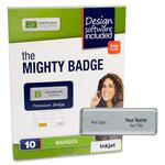 shopping online for imprint plus mighty badge silvr inkjet name badges  - free   rapid delivery - sku: ipp2839