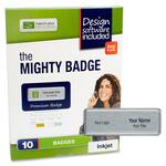 discounted pricing on imprint plus mighty badge silver laser name badges - quick  free delivery - sku: ipp2846