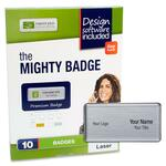 huge selection of imprint plus mighty badge silver laser name badges - free and rapid shipping - sku: ipp2921