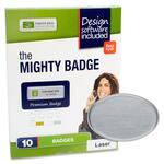 buying imprint plus oval silver laser name badges - fast  free shipping - sku: ipp2969