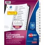 get avery black   white table of contents dividers - us-based customer support - sku: ave11142