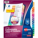lowered prices on avery ready index table of contents reference dividers - top rated customer care - sku: ave11143