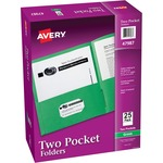 avery 2-pocket folders w o fasteners - super fast shipping - sku: ave47987