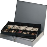 mmf industries heavy gauge steel cash box w tray - us-based customer service team - sku: mmf2215cbtgy