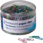officemate translucent vinyl paper clips - considerable selection - sku: oic97211