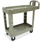 need some rubbermaid two-tiered full service carts  - delivery is fast   free - sku: rcp450088bg