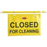 purchase rubbermaid closed for cleaning hanging safety sign - outstanding customer service staff - sku: rcp9s1500yw