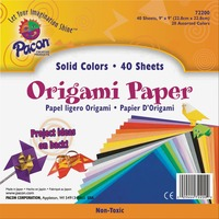 Pacon Origami Paper, 30 lbs., 9 x 9, Assorted Bright Colors, 40 Sheets/Pack PAC72200