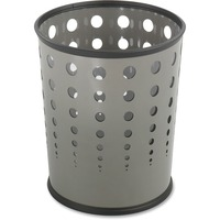 Safco Bubble Wastebasket, Round, Steel, 6gal, Gray SAF9740GR