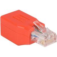 StarTech.com Crossover adapter - RJ-45 (M) - RJ-45 (F) - Gigabit - ( CAT 6 ) - red - 1 x RJ-45 Male Network - 1 x RJ-45 Female Network - Red