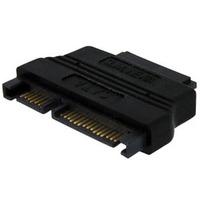 StarTech.com Slimline SATA to SATA Adapter with Power - F/M - 1 x Male SATA - 1 x Female SATA - Black