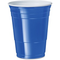 SOLO Cup Company Plastic Party Cold Cups, 16oz, Blue, 50/Bag, 20 Bags/Carton SCCP16BRLCT