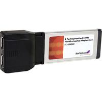 StarTech.com 2 Port ExpressCard 1394a FireWire Laptop Adapter Card - 2 x 6-pin Female IEEE 1394a FireWire - Plug-in Module