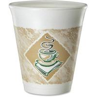 Dart Foam Hot/Cold Cups, 8oz, White w/Brown & Green, 1000/Carton DCC8X8G