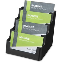 deflecto Recycled Business Card Holder, Holds 150 2 x 3 1/2 Cards, Four-Pocket, Black DEF90404