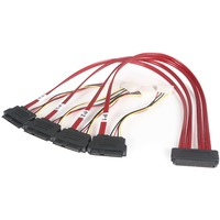 StarTech.com 50cm Serial Attached SCSI SAS Cable - SFF-8484 to 4x SFF-8482 with LP4 Power - 1 x SFF-8484 - 4 x SFF-8482 - Red