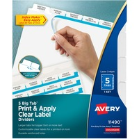 Avery Big Tab Index Maker Clear Label Divider AVE11490