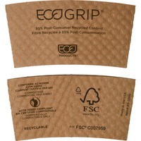 Eco-Products EcoGrip Recycled Content Hot Cup Sleeve, Kraft, 1300/Carton ECOEG2000
