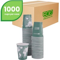 Eco-Products World Art Renewable Resource Compostable Hot Cups, 12oz, Green, 1000/Carton ECOEPBHC12WA