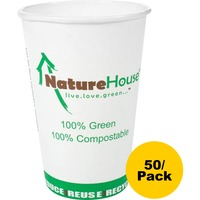 NatureHouse Compostable Paper/PLA Cup, 12oz, White, 50/Pack SVAC012